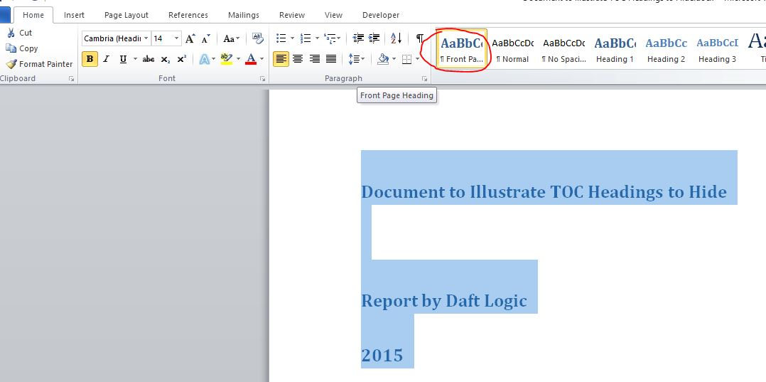 How To Hide Text From Microsoft Word Table Of Contents