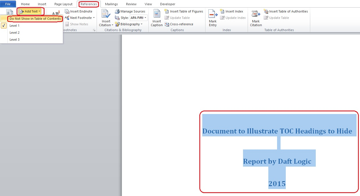 How To Hide Text From Microsoft Word Table Of Contents Logic Diagram 2010 Toc Issue Step 5